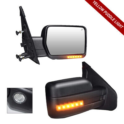 For 99-07 Ford F250 F350 F450 F550 Yellow Signal Towing Mirror With Power Heated