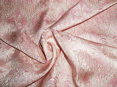 "SMALL JACQUARD PRINT SILK BROCADE~9""x22""~PINK & IVORY~DOLL  FABRIC"