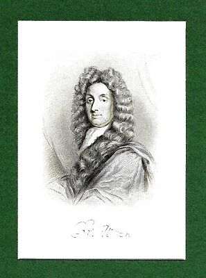 Sir Christopher Wren PRS - English Architect - Engraving after Sir G. Kneller