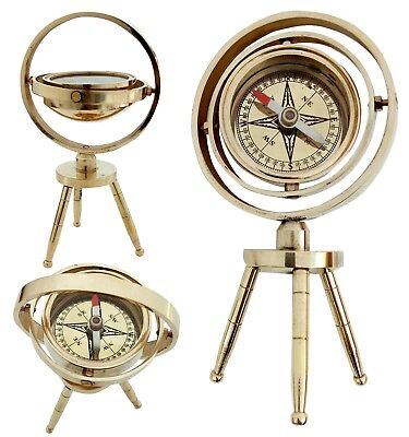 Nautical Shiny Brass Tabletop Compass Vintage Solid Brass Compass Beautiful