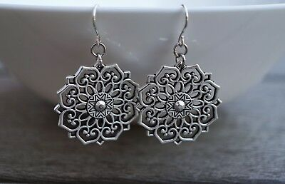 Bronze Filigree Flower Mandala Dangle Earrings Etnic Oriental Festival Boho