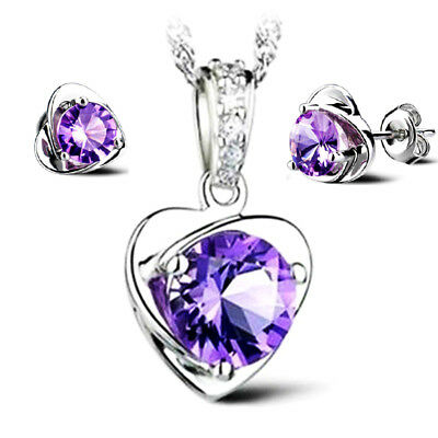 925 Silver Amethyst Necklace Pendant and Earrings Set -UK SELLER-