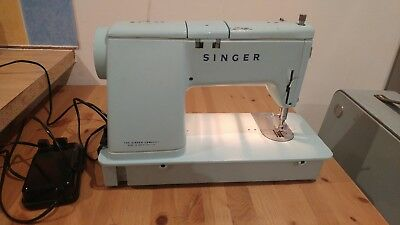 Vintage Retro Electric Singer Sewing Machine Model 348 Baby Blue