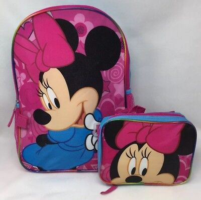 Minnie Mouse Back to School Book Bag Backpack Detachable Matching Lunch Box NEW