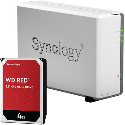 Synology DS119j 1-BAY DiskStation Assembled with a 4TB Western Digital NAS Drive