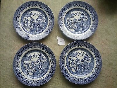 """Set of 4 Churchill pottery Willow pattern 6.5 """" tea plates blue and white plate"""