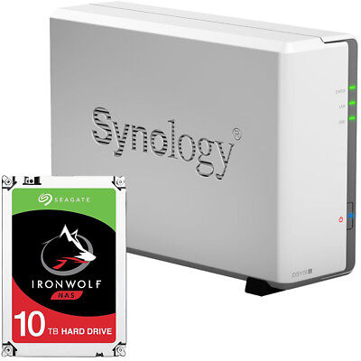 Synology DS119j 1-BAY DiskStation Assembled with a 10TB Seagate Ironwolf Drive