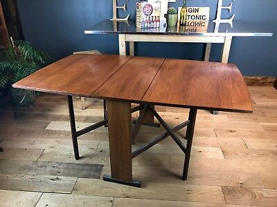 Vintage Wooden Retro Drop leaf Dining Kitchen Table Rustic Mid Century