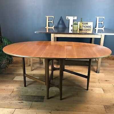Vintage Oval Wooden Retro Drop leaf Dining Kitchen Table Rustic Mid Century