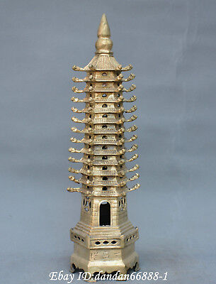 Chinese Bronze Feng Shui Pagoda Of Cultural Prosperity Wenchang Tower Statue