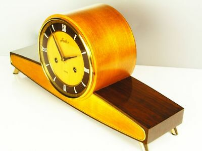 ART DECO CHIMING MANTEL CLOCK FROM  JUNGHANS BLACK FOREST from 50 'S
