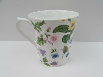 Country Meadow by Rosina-Queens Mug Pink Blue Yellow & Lavender Flowers b196
