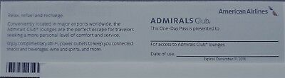 American Airlines Admirals Club One-Day Pass - Expires December 31, 2018