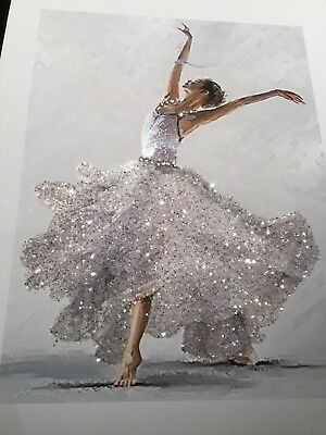 Ballerina Real Silver glitter picture PRINT ONLY No Frame...