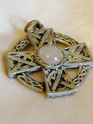 Celtic Style cross. (just pendant) With Quartz stone