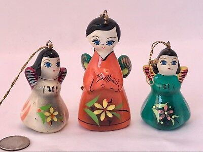 """THREE Vintage Mexican ANGEL ORNAMENTS Hand-Painted Terra-cotta FLOWERS 2.75"""""""