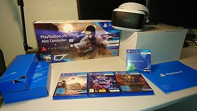 Playstation 4 VR Brille ,Farpoint Aim Controller, Rush of Blood, VR Worlds