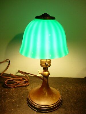 EMERALITE JR Antique Brass Industrial Articulated Clamp Desk Lamp w Orig Shade
