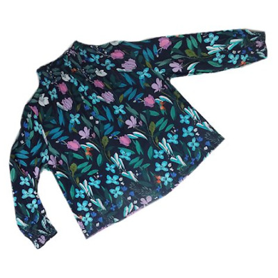 BNWOT Girls Navy Blue Floral Leaf Top with High Neckline Ages 2 to 7 Years
