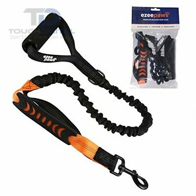 Ezee Paws Strong Dog Lead Anti Pull Shock Absorbing Bungee Leash with Soft Barre