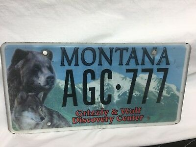 """Montana License Plate """"grizzly & Wolf Discovery Center"""" Agc-777"""