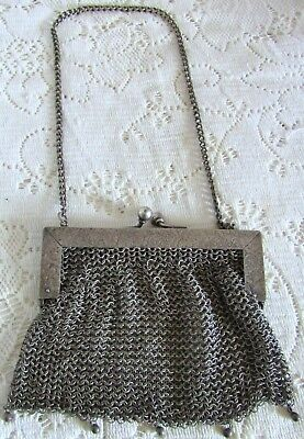 Beautiful Antique Art Deco German Silver Mesh Purse Floral Frame Nice!