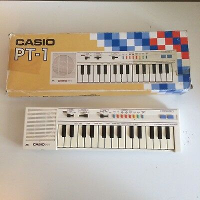 Casio PT-1 Compact Electronic Keyboard Synthesizer White With Box!