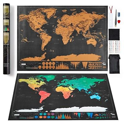Large Scratch Off World Map Deluxe Edition Personalised Travel Tracker Poster