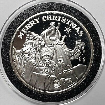 Merry Christmas 3 Wisemen 1 Troy Oz .999 Fine Silver Round Collectible Coin 999