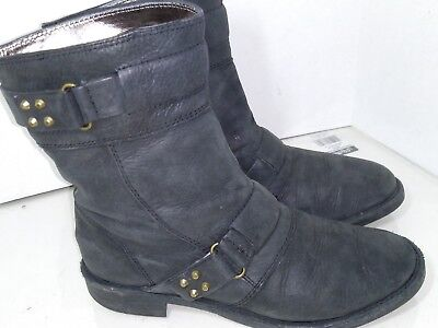 a602f881f0a1 CLARKS LEATHER BOOTS booties buckle two toned black clog womens size ...