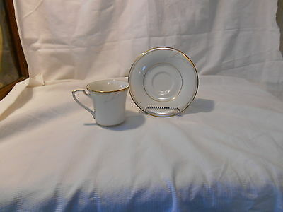 """Noritake """"Golden Lily"""" china cup and saucer,peach/blue trim, bands lily flower"""