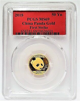 2018 50 Yuan China Gold Panda 3 Gram .999 Gold Coin PCGS MS 69 = First Strike =