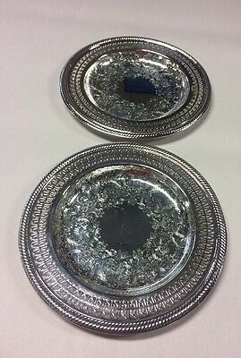 (2) Vtg Ornate Silver Plate Round Trays Serving Platter International Silver Co