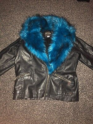 Girls Black Synthetic Leather Jacket. Age 11yrs