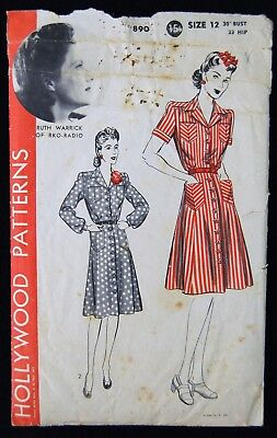 Vintage Original Hollywood 40's Afternoon Dress Pattern No. 890