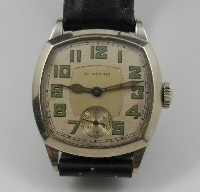Vintage 14K White Gold Filled Military Style Mens Watch, Running, 17j