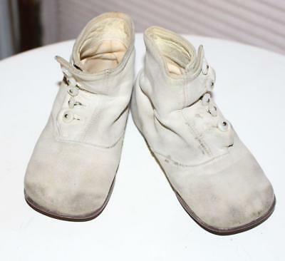 Victorian White Leather Baby Toddler Side Button Shoes Boots For a Large Doll