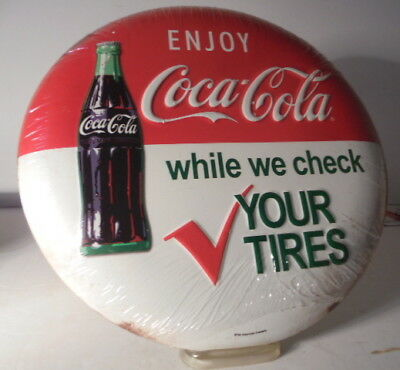 Enjoy Coca Cola We Check Tires Embossed Metal Button Wall Sign Coke SHIPS 4 FREE