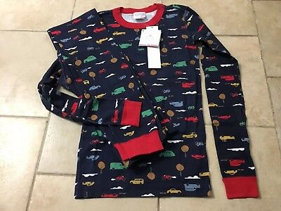 NWT Hanna Andersson Blue Day tripper Vehicles Long Organic Pajamas Size 160 (14)