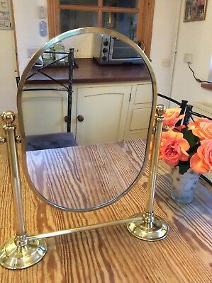 Vintage / Antique, Solid Brass, Vanity Table Top oval Mirror, Edwardian Style