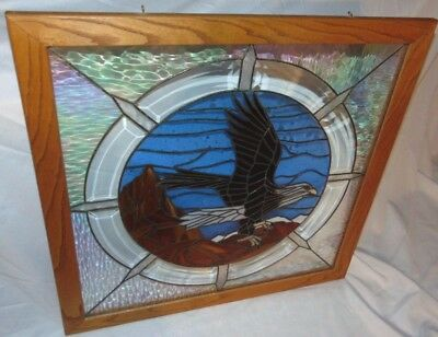 """Vintage Large 24""""x24"""" Framed EAGLE Lead Stained Glass Hand Craft Window Hanging"""