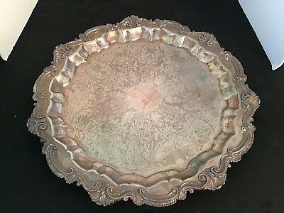 "Antique Ornate Footed 19.5"" Silver Plated Round Serving Tray"