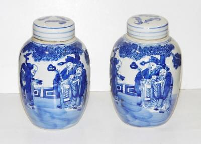 Fine Pair Chinese Kangxi Vases Immortals Scholars Pictorial Blue & White 16cm