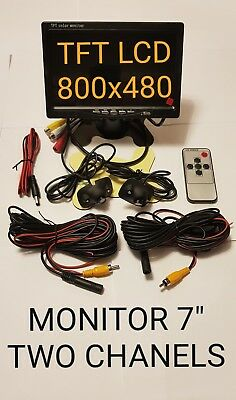 """Monitor 7"""" inch TFT LCD Two Channels  + 2X  Reversing  Camera and wiring"""