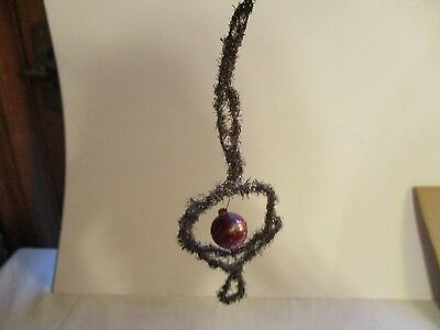 Antique Gold Tinsel Wrapped Victorian Wire Wrapped Christmas Ornament 6