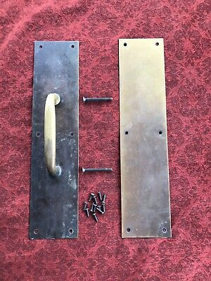 Vtg  Large Pair  Industrial Salvag Brass Door Handle Pull Cover Plate