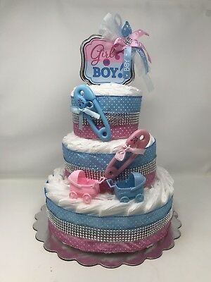 Baby Diaper Cake For Gender Party, Boy Or Girl,Baby  Shower Diaper Cake