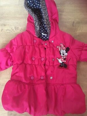 Girls Red Minnie Mouse Winter Coat With Hood Age 3-4 Years