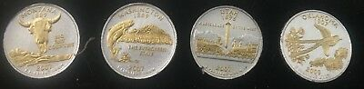 2007/2008 Four Gold and Silver Highlighted State Quarters from PCS