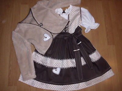 "NEU  Kinder Dirndl  gr. 110/116  mit Jäckchen      ""MADE WITH LOVE"""